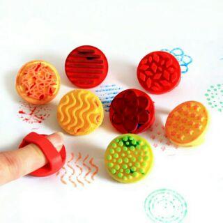幼兒園 兒童手工DIY 手指印章繪畫 塗鴉美勞工具 軟橡膠 卡通印章