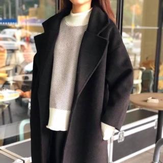韓國混羊毛硬挺大衣