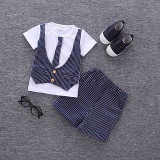 韓版2017童裝男童夏裝兒童純棉短袖T恤套裝寶寶西裝馬甲紳士服潮