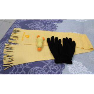 Pierre cardin 黃色圍巾手套組