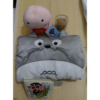 組合包---龍貓暖手枕,丁丁招財娃娃,蠟筆小新零錢包