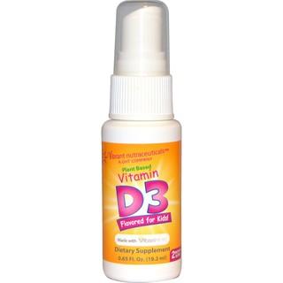 Vibrant Nutraceuticals, 維生素D3,純植物,適合兒童口味! ,0.65液體盎司(19.2毫升)