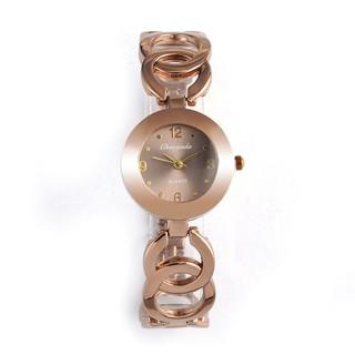 女士手錶玫瑰金豪華手錶不銹鋼石英手錶