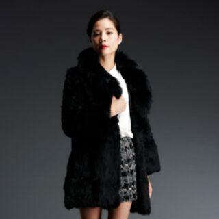 C&C藍狐毛領兔毛華麗修身大衣
