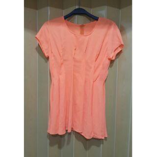 (全新)螢光橘奏摺短袖上衣