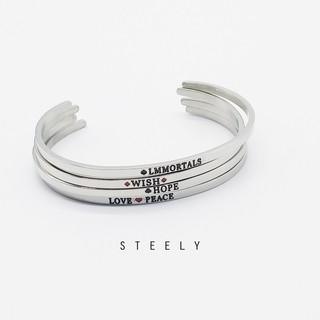 STEELY SHOP 簡約 悄悄話英文鈦鋼手環C 字手環不鏽鋼316L 符號 韓國