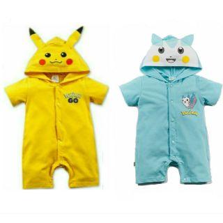 ohmybaby Pokemon go 皮卡丘恐龍嬰兒連身衣短袖平角動物卡通 服新生兒男童女童幼童包屁