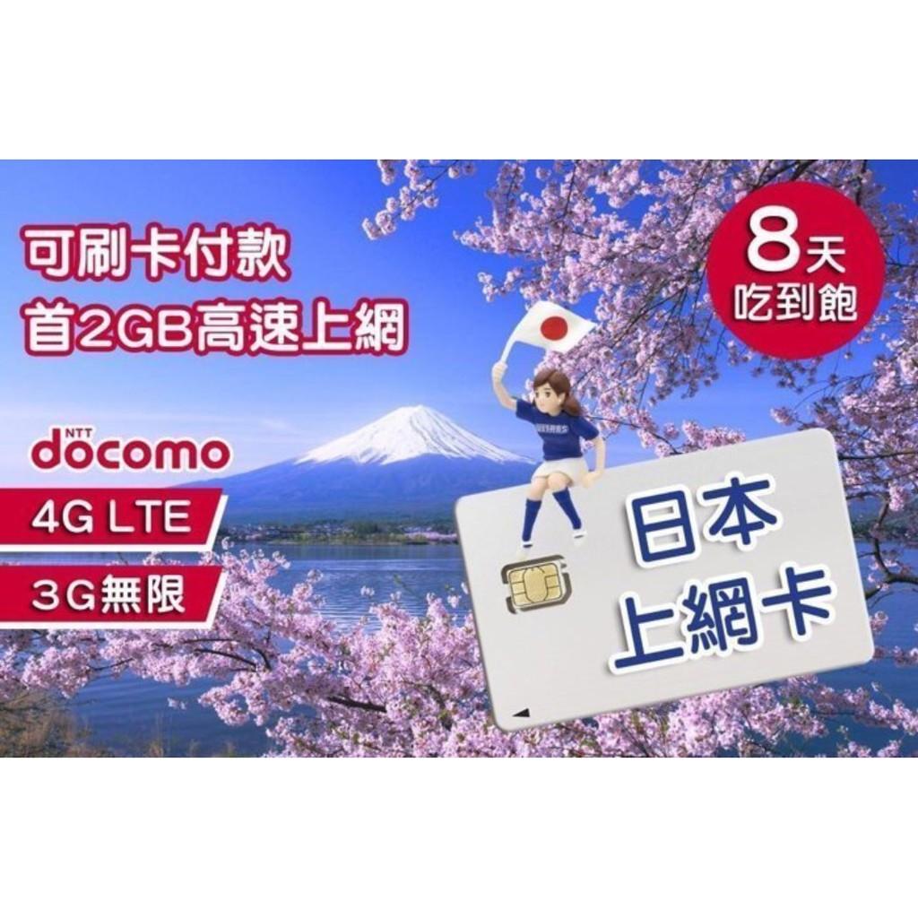 日本上網卡 2G流量/4G 3G/吃到飽 DOCOMO SIM 8天吃到飽