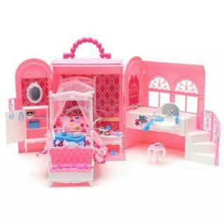 芭比娃娃度假屋粉紅甜甜屋別墅行李箱手提包禮盒