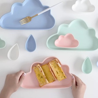磨砂陶瓷餐具創意可愛早餐盤 卡通雲朵盤/雨滴碟/點心碟