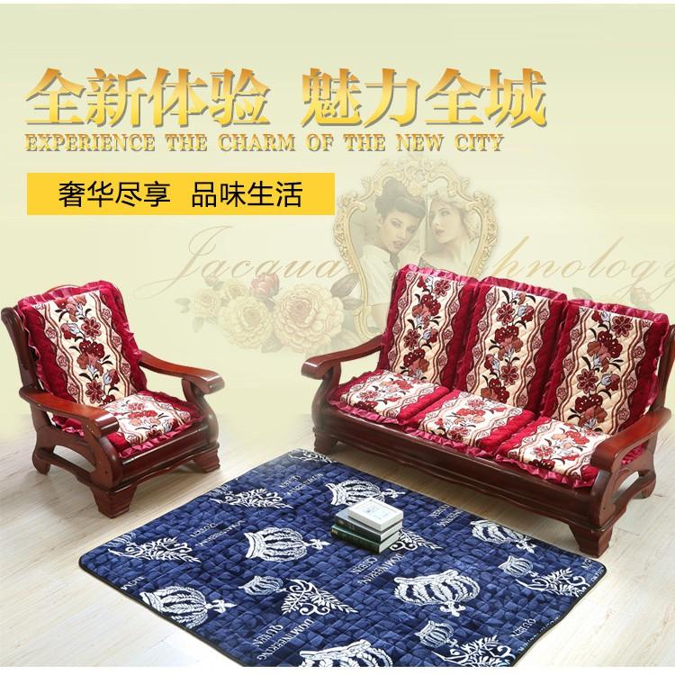 單人座木椅子墊帶靠背一體實木沙發墊紅木椅墊靠墊加厚海綿坐墊 ☆優夠好SoGood☆