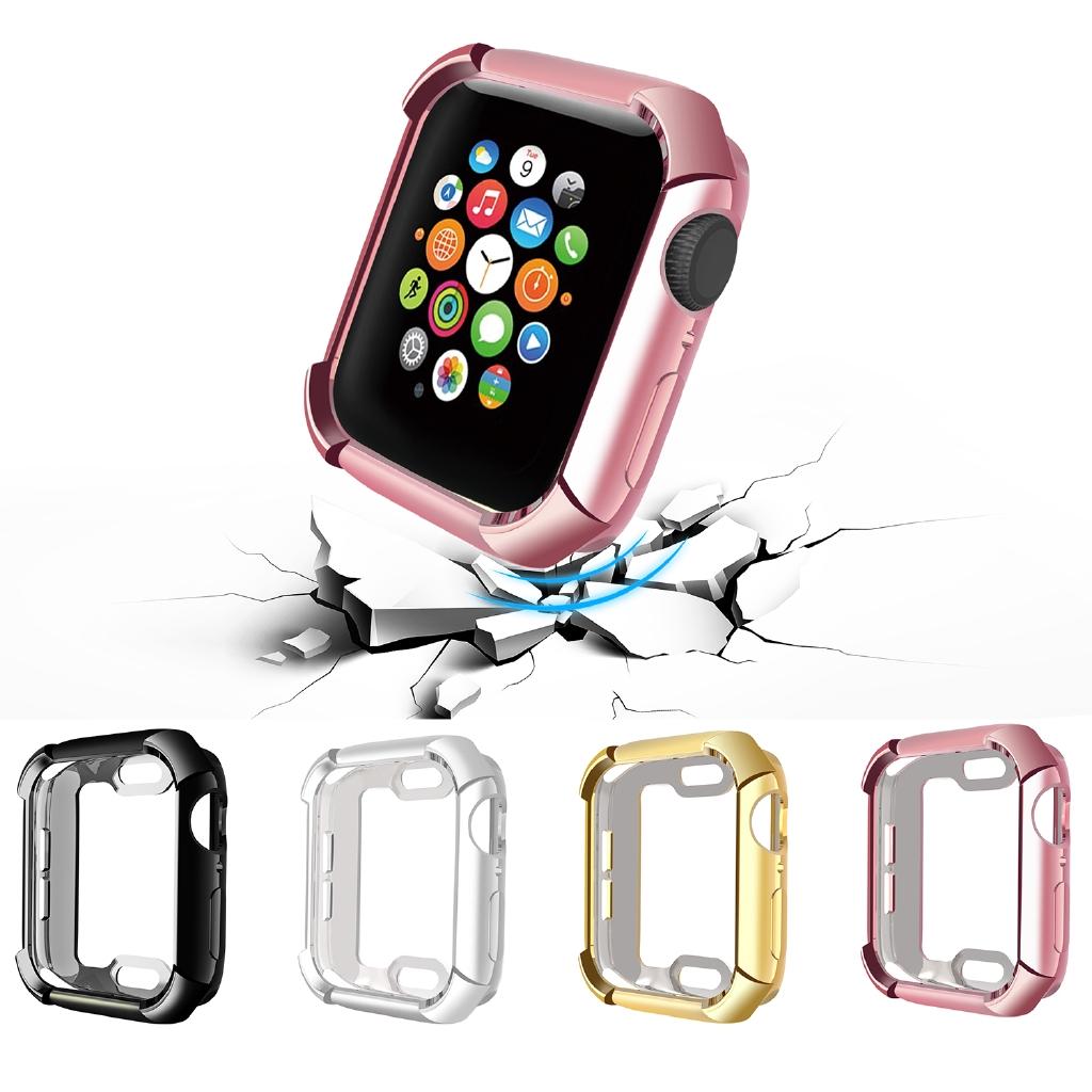 適用蘋果Apple watch Series 4代保護殼 蘋果手錶保護殼4代 電鍍TPU錶殼40mm/44mm錶框