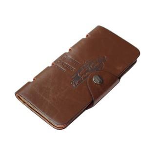 男士 復古錢包三折牛皮錢夾長款男式卡包男生錢包裂紋長夾包包男朋友 情侶