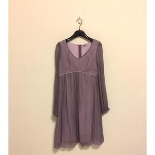 薰衣草紫真絲洋裝
