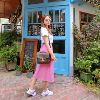 妮媽正韓雙口帶袋素色A字伸縮裙(苺粉色)