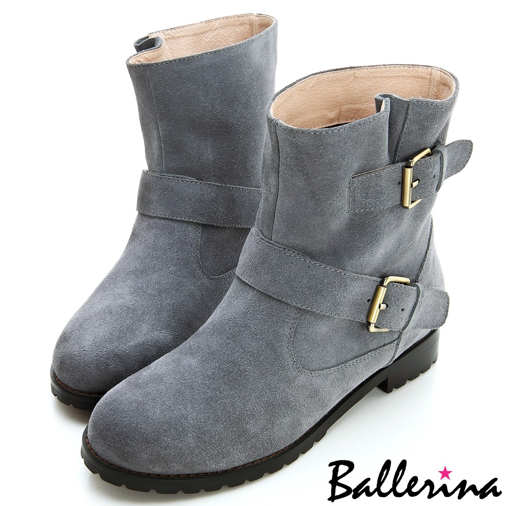 ESTELLA-全真皮釦環工程短靴-灰