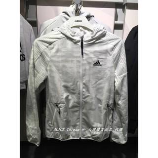 adidas 愛迪達防風外套訓練外套修身顯瘦白色連帽運動外套女生風衣外套CF9116
