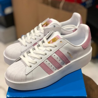 ADIDAS SUPERSTAR BOLD 粉厚底金標