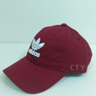 Adidas Original  三葉草酒紅老帽
