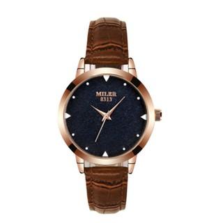 正品米樂璀璨星際玫瑰金真皮帶女士手錶8313