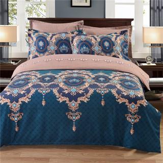 Comeandbuy 宮廷風床上用品仿提花细丝涤棉亚麻床罩缎花双尺寸大
