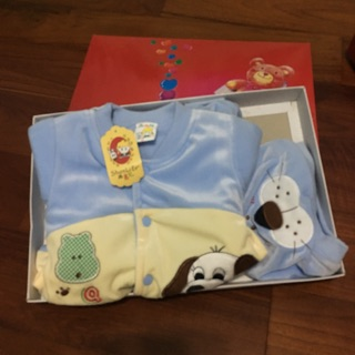 現貨-台灣製小狗男寶寶初生嬰兒冬季禮盒彌月$200禮盒三件組