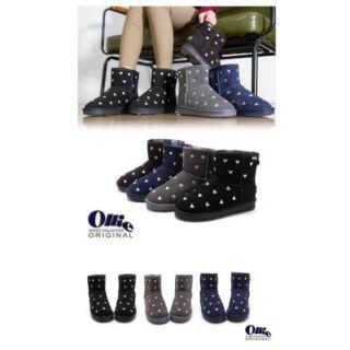 韓國冬季鞋款預購⋯真皮刺繡 Ollie 米奇 雪靴