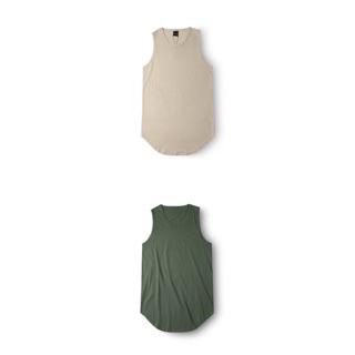 LAY LOW長版圓弧下擺素色背心  卡其色  綠色  立體加長男生女生情侶打底長版背心
