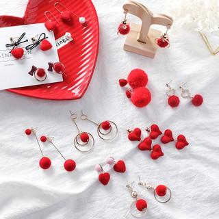 純銀925 耳勾防過敏可換耳夾  潮流氣質甜美新年款紅色系毛球耳環 絲絨蝴蝶結愛心耳墜花朵