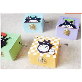 龍貓木質手搖音樂盒 生日 八音盒帶許願紙條學生 日式 貼片彩色龍貓木質工藝品木盒手搖音樂盒創