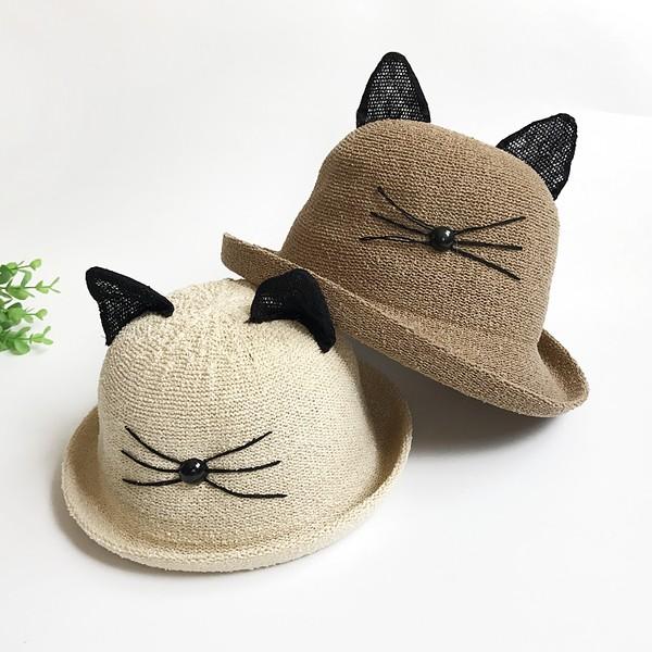 嬰幼兒女童男童帽子 ~親子款~ 夏季草帽 蕾絲耳朵貓咪草帽/編織帽/夏季帽/遮陽帽/兒童帽