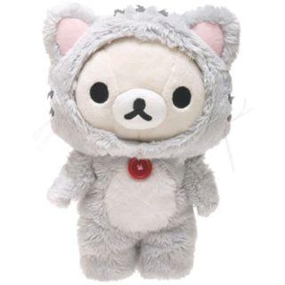 《喵頭~萌》∩Rilakkuma 懶懶熊 拉拉熊∩懶熊 牛奶熊 懶妹 第一代 灰貓 貓咪 變裝 貓咪裝 絨毛 公仔 娃娃