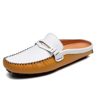 優選新款真皮包頭潮流拖鞋夏季時尚半拖涼拖男涼鞋