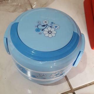 可手提藍色塑膠便當盒