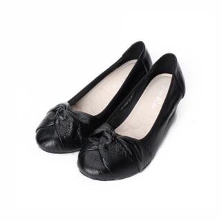 鞋全家福~Rin Rin真皮扭結黑色厚底包鞋 24.5