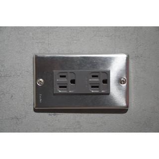 不鏽鋼插座 開關 電源 工業風 復古 白鐵 電料 蓋板 面板 三孔雙插(灰色)
