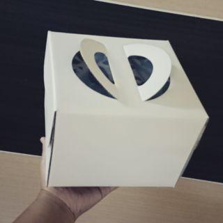 """白色手提6""""6吋蛋糕盒附底盤10入"""