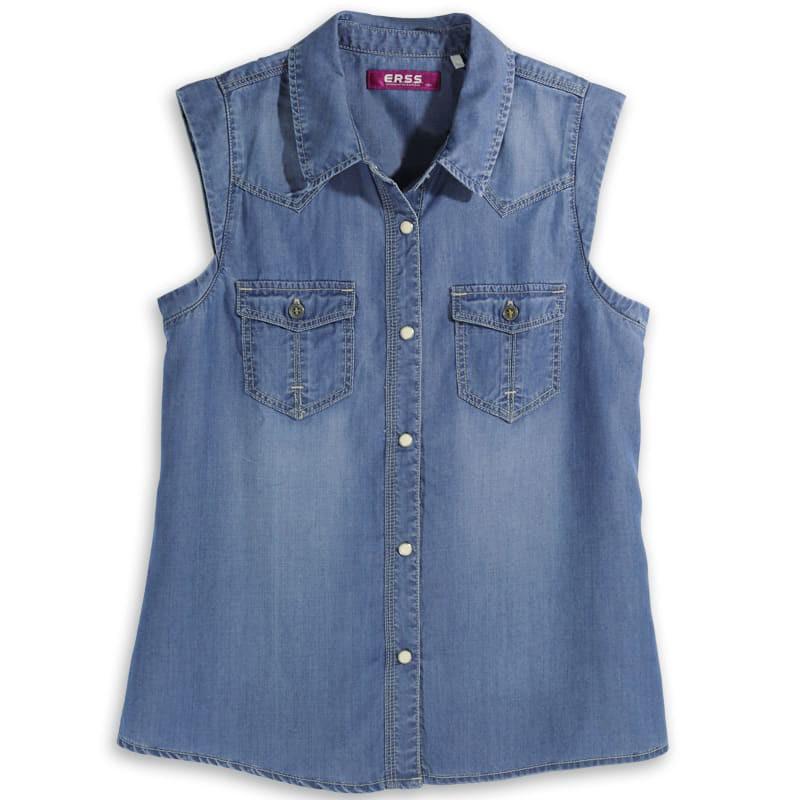 【ERSS】天絲棉牛仔無袖襯衫 - 女 漂淺藍 中古藍 K40001