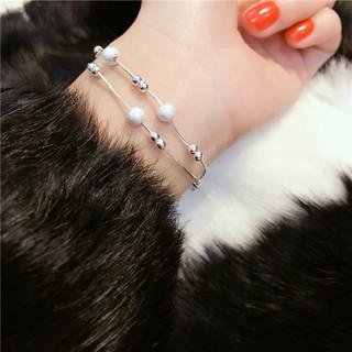 香港代購正生純銀專櫃990足銀磨砂珠三層手鏈飾品女可以調節大小