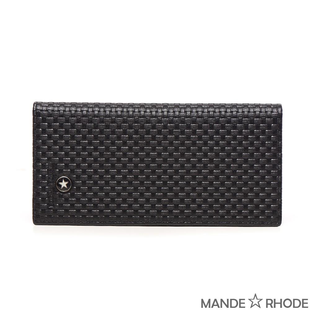 【限時7折附發票】MANDE★RHODE - 貝加莫。編織皮紋紳士二折真皮長夾