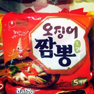 韓國泡麵 農心 魷魚風味炒瑪麵(乾麵) 124g 正宗風味 炒碼麵/海鮮麵(一袋5入)妻子的誘惑~姑姑~河娜的最愛
