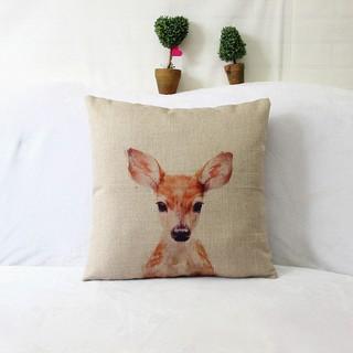 熱賣新款仿真小鹿動物圖案印花亞麻家居沙發抱枕枕套枕芯