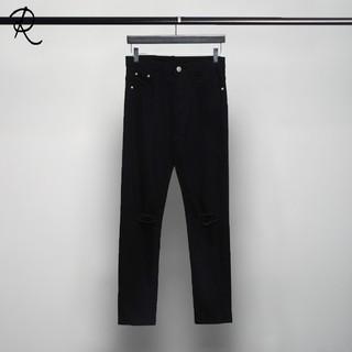 2017韓版 潮男個性彈力磨破洞彈性黑色修身鉛筆小腳褲水洗牛仔褲