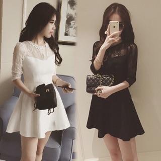 在台,白黑S L XL 2XL 3XL ,實拍蕾絲伴娘性感長袖透膚洋裝禮服顯瘦中大