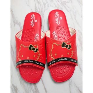【Hello Kitty】凱蒂貓靜音按摩拖鞋/居家拖鞋/KITTY女鞋/室內外拖鞋(愛心壓紋-紅)