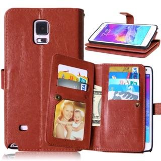 三星Note4 多卡錢包手機皮套 Note4 多功能九卡插卡保護套 瘋馬紋仿皮+錢包插卡