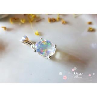 Opal 透澈彩虹火蛋白純銀項鍊墜子