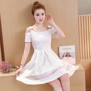 雪紡洋裝一字領露肩連衣裙 短袖修身顯瘦小清新白色連衣裙