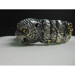 925純銀手環純銀手鐲~(獨家)厚實重量款-純銀老虎手環純銀虎頭-哈雷重機-特殊銀工藝製作-C42