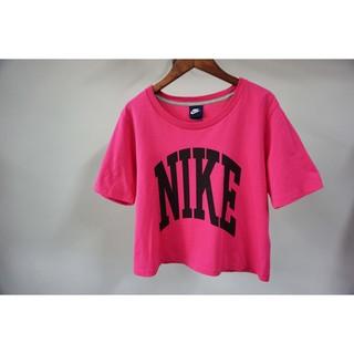 (二手)Nike 短袖上衣 T恤 短版 棉T 女生 粉色 L號 寬鬆 短版上衣